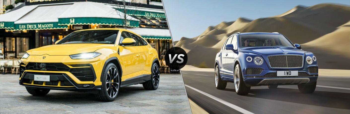 2018 Lamborghini Urus Exterior Driver Side Front vs 2018 Bentley Bentayga Exterior Passenger Side Front