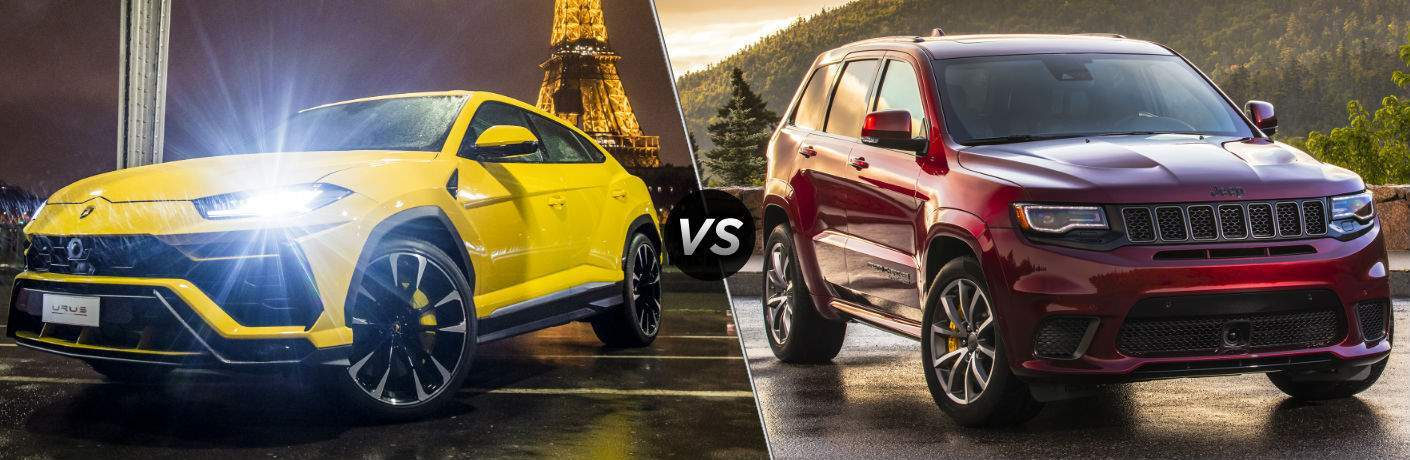 2018 Lamborghini Urus Exterior Driver Side Front vs 2018 Jeep Grand Cherokee Trackhawk Exterior Passenger Side Front