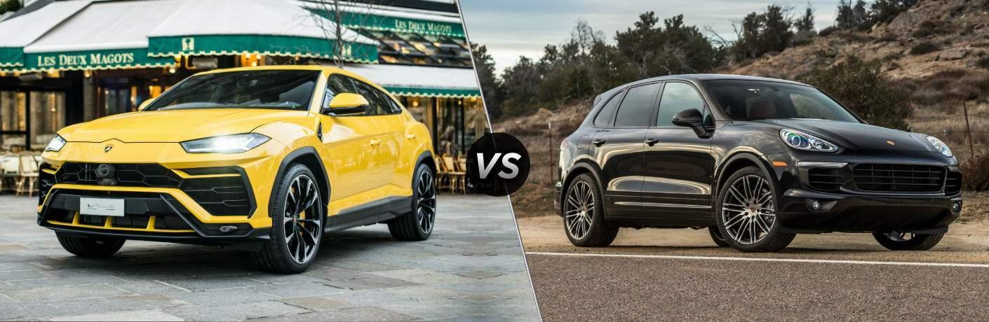 2018 Lamborghini Urus Exterior Driver Side Front vs 2018 Porsche Cayenne Exterior Passenger Side Front