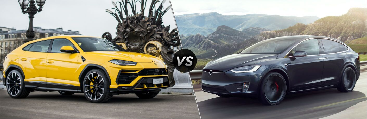 2018 Lamborghini Urus Exterior Passenger Side Front Profile vs 2018 Tesla Model X Exterior Driver Side Profile