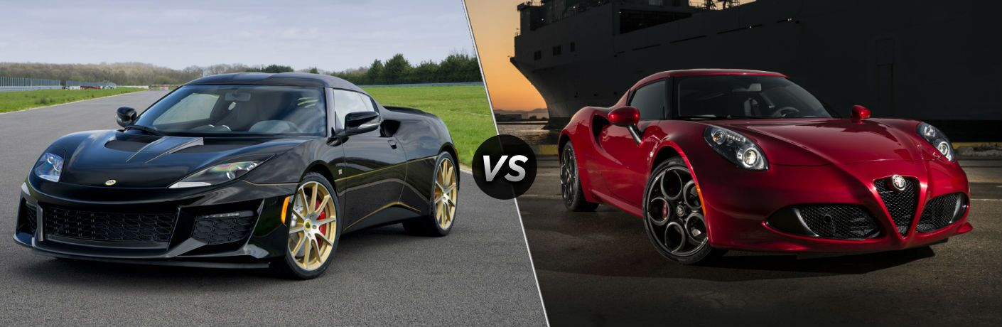 2018 Lotus Evora Sport 410 Exterior Driver Side Front Angle vs 2018 Alfa Romeo 4C Exterior Passenger Side Front Angle