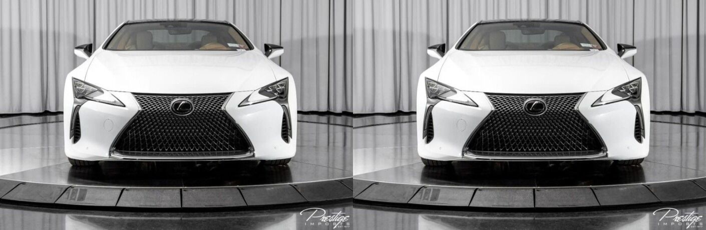 2018 Lexus LC white front and back view