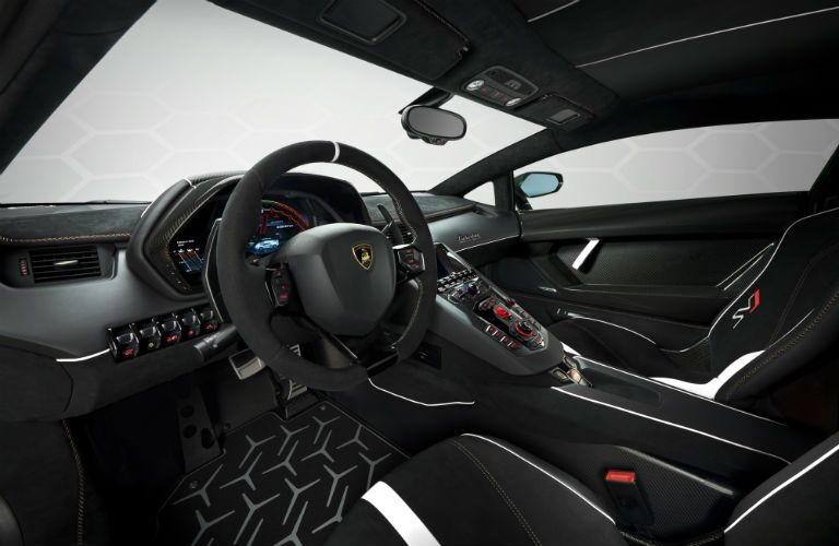 2019 Lamborghini Aventador SVJ White Interior Cabin Front Seats & Dashboard