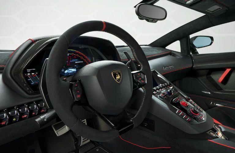 2019 Lamborghini Aventador SVJ Red Interior Cabin Dashboard