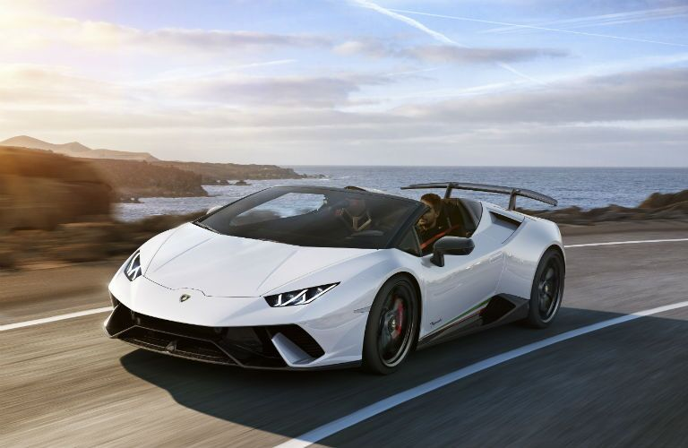 2019 Lamborghini Huracan Performante Spyder Exterior Driver Side Front Angle