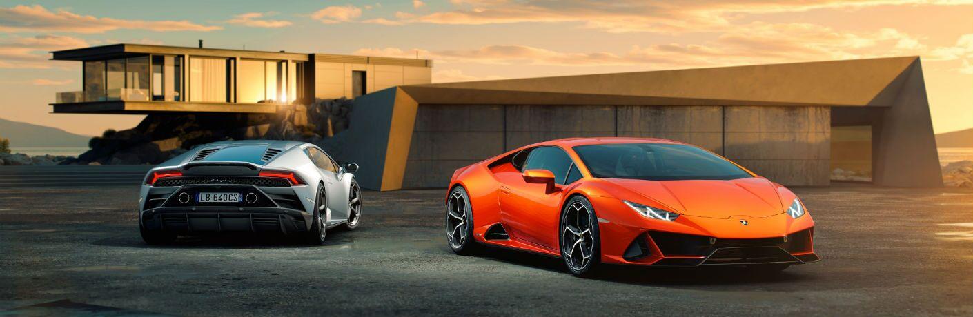 2019 Lamborghini Huracan EVO Exterior Passenger Side Front & Rear Angles