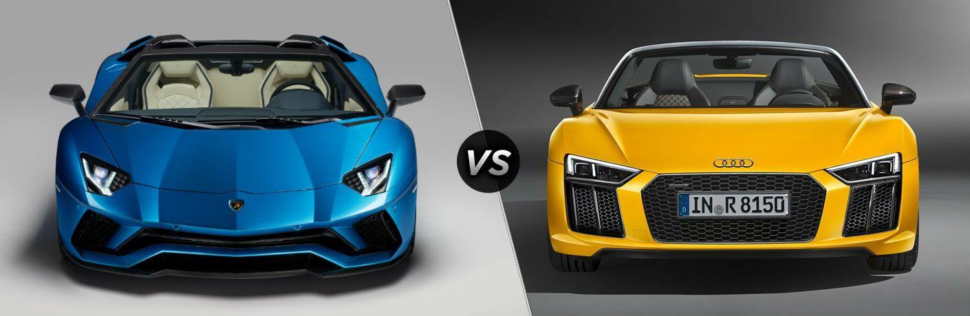 2018 Lamborghini Aventador Roadster Exterior Front Fascia vs 2018 Audi R8 Spyder Exterior Front Fascia