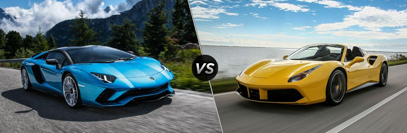 2018 Lamborghini Aventador Roadster Exterior Passenger Side Front Angle vs 2018 Ferrari 488 Spider Exterior Driver Side Front Angle