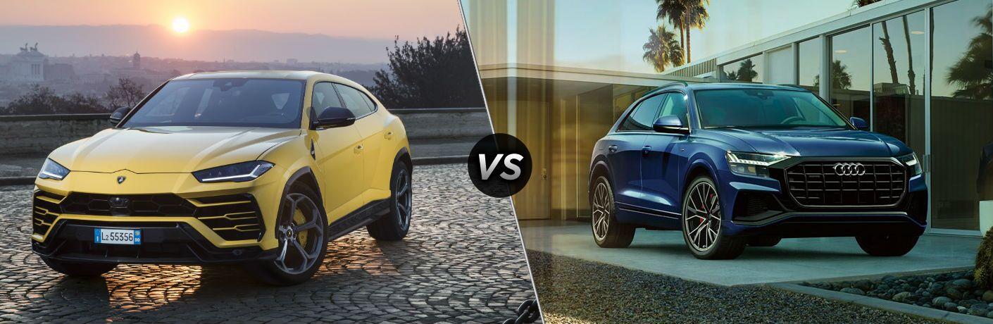 2019 Lamborghini Urus Exterior Driver Side Front Angle vs 2019 Audi Q8 Exterior Passenger Side Front Angle
