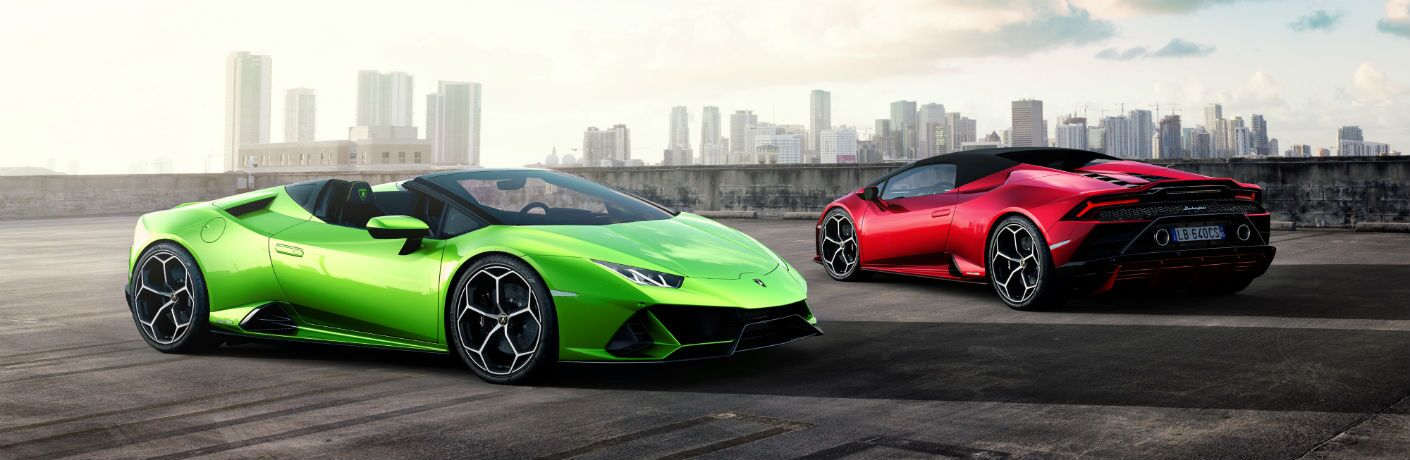 2020 Lamborghini Huracan EVO Spyder Exterior Passenger Side Front Driver Side Rear Profiles