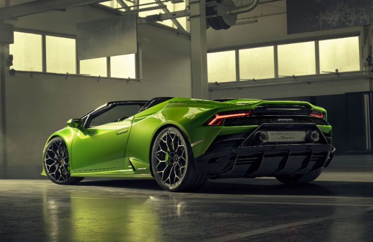2020 Lamborghini Huracan EVO Spyder Exterior Driver Side Rear Profile