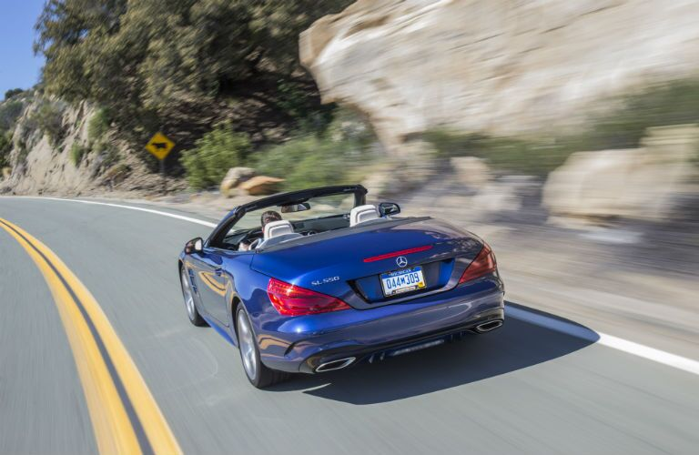 2020 Mercedes-Benz SL-Class Exterior Driver Side Rear Angle with Top Down