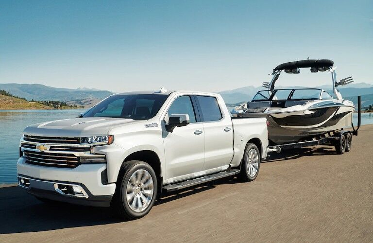 2021 Chevy Silverado 1500 Exterior Driver Side Front Profile while Towing