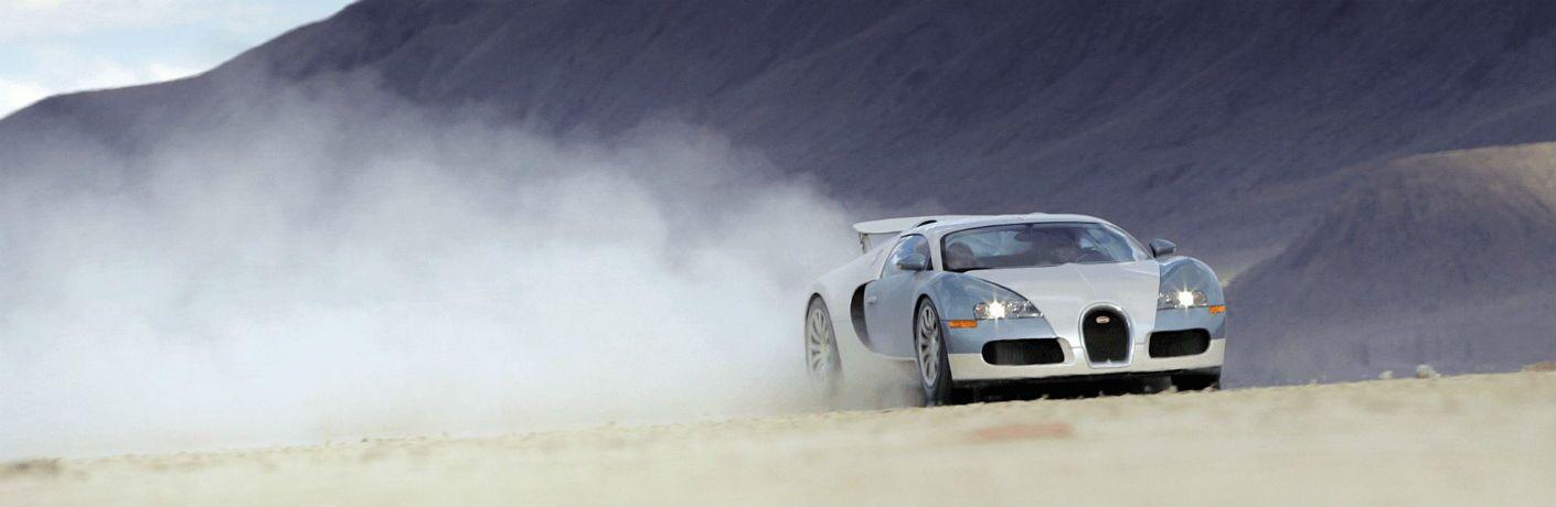 Bugatti Veyron Exterior Passenger Side Front Angle Blowing Smoke