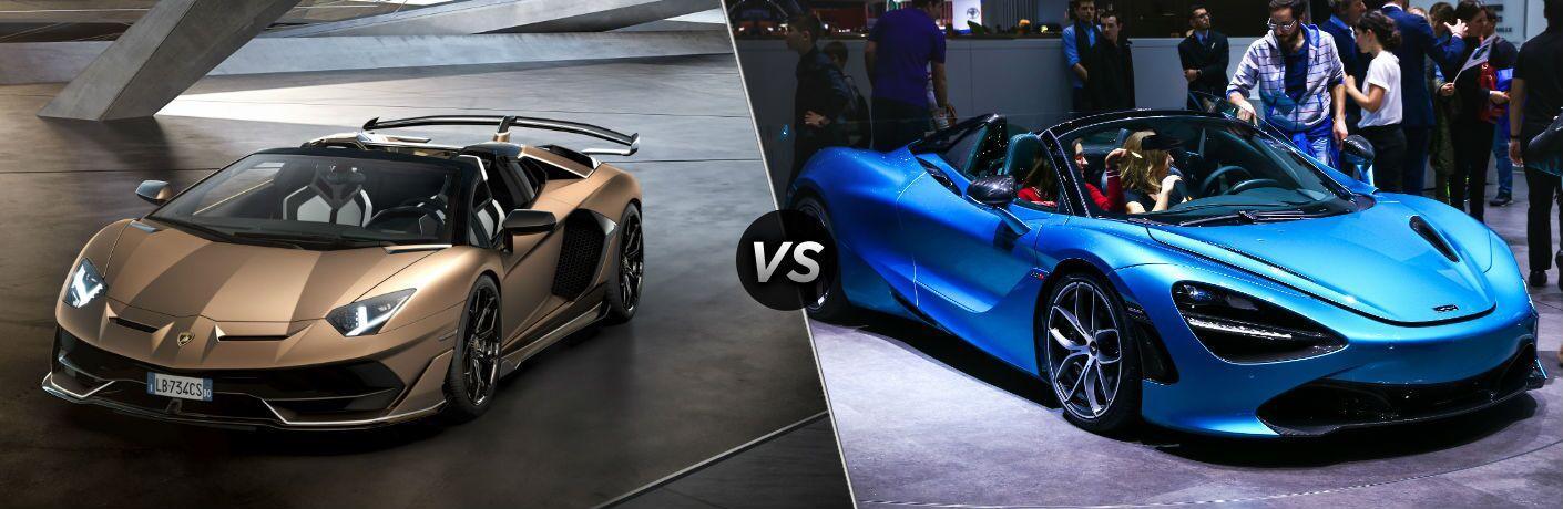 Lamborghini Aventador SVJ Roadster Exterior Driver Side Front Angle vs McLaren 720S Spider Exterior Passenger Side Front Angle