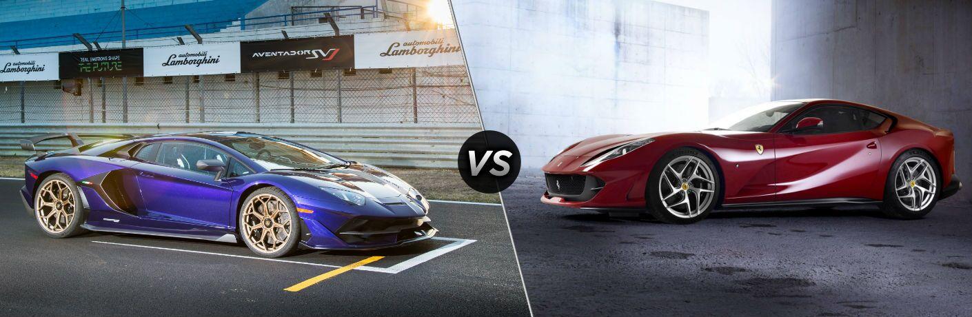 Lamborghini Aventador SVJ Exterior Passenger Side Front Profile vs Ferrari 812 Superfast Exterior Driver Side Front Profile