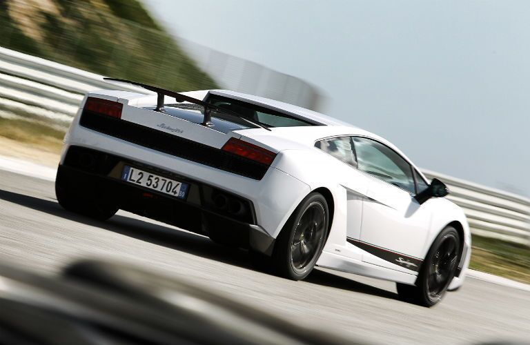 White Lamborghini Gallardo Superleggera Exterior Passenger Side Rear Angle