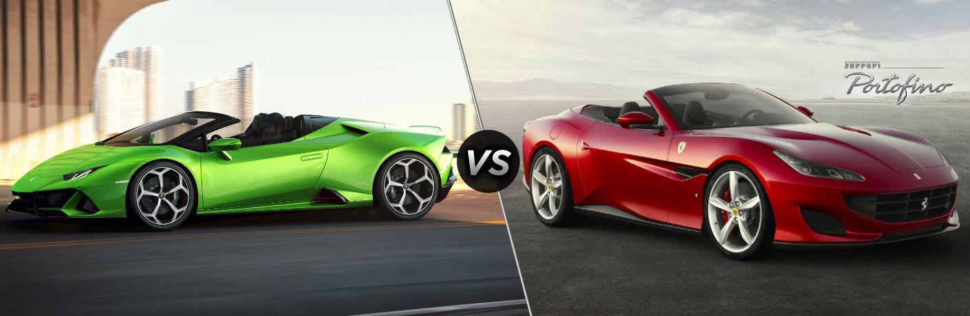 Lamborghini Huracan EVO Spyder Exterior Driver Side Front Profile vs Ferrari Portofino Exterior Passenger Side Front Profile