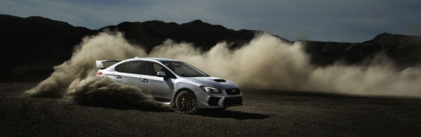 2018 Subaru WRX STI Kicking Up Dusty Exterior Passenger Side Profile