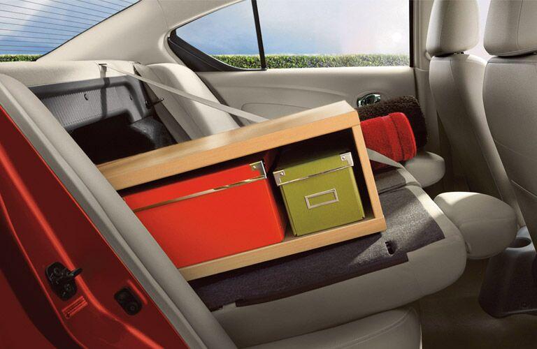2016 Nissan Versa interior storage split folding seat