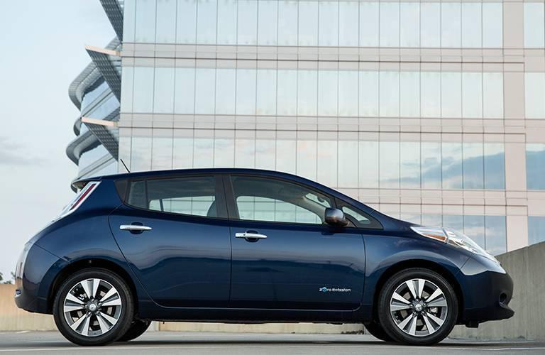 blue 2016 Nissan LEAF side profile