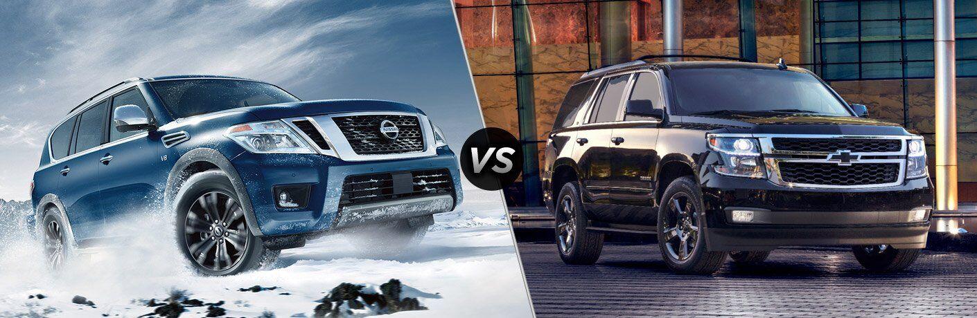 blue 2017 Nissan Armada black 2017 Chevy Tahoe exteriors