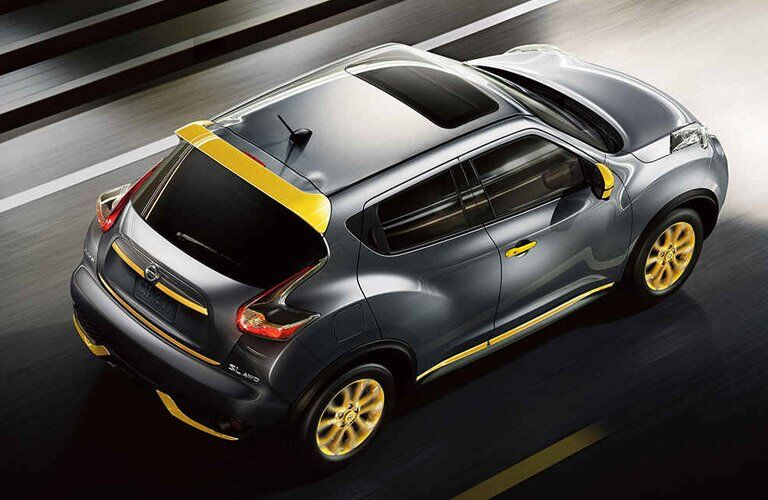 black 2017 Nissan Juke with yellow trim viewed from top