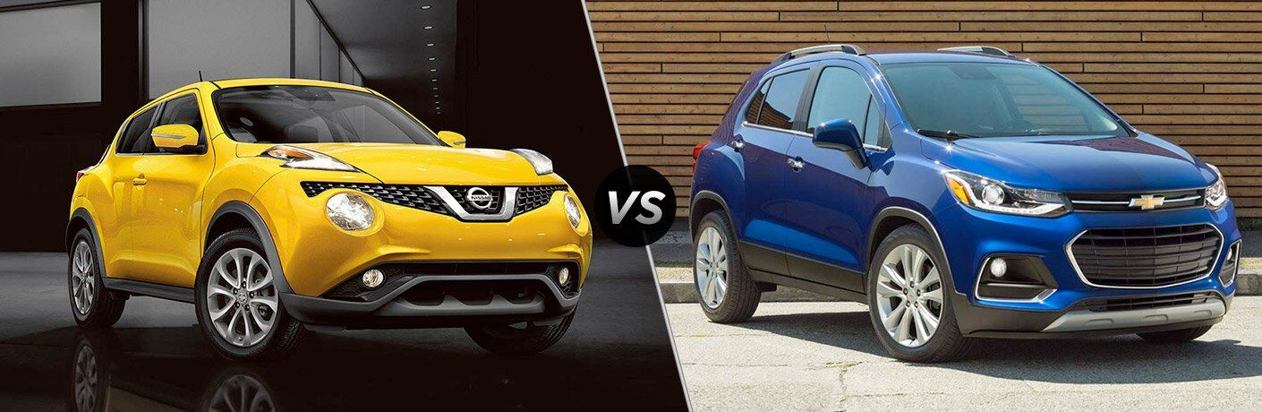 yellow 2017 Nissan Juke blue 2017 Chevy Trax exteriors