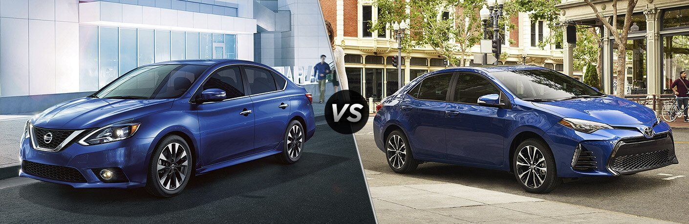 blue 2017 Nissan Sentra exterior blue 2017 Toyota Corolla exterior
