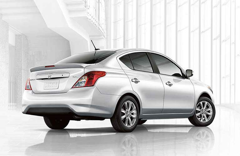 silver 2017 Nissan Versa exterior rear passenger side angle