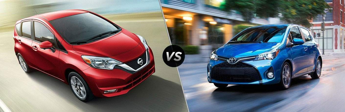 red 2017 Nissan Versa Note and blue 2017 Toyota Yaris exteriors