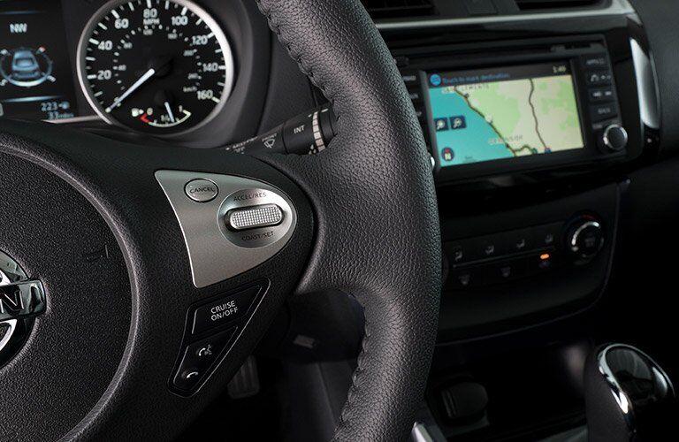2017 Nissan Sentra steering wheel closeup