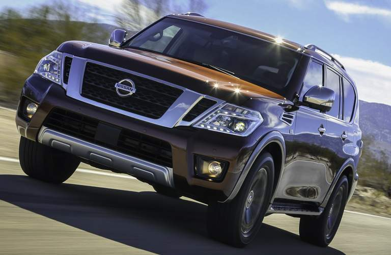 2017 Nissan Armada exterior front angle driving on highway