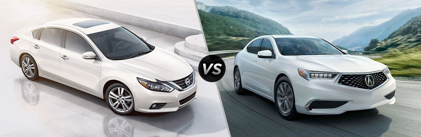 White 2018 Nissan Altima and Acura TLX models positioned next to each other in comparison image