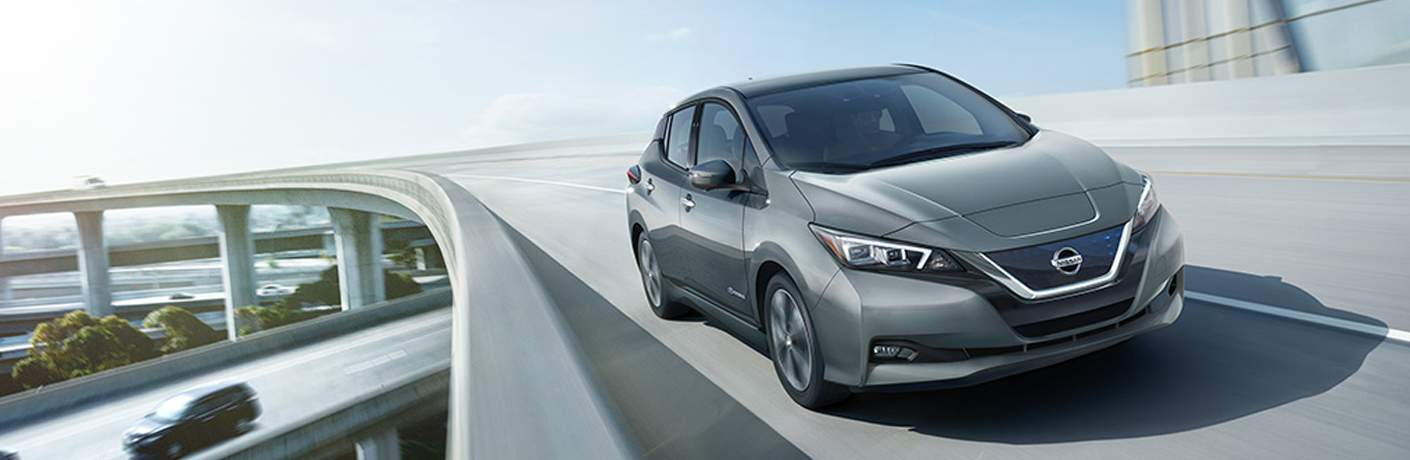 gray 2018 Nissan Leaf front side view