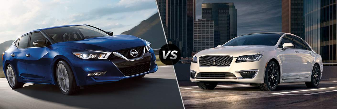 2018 Nissan Maxima and 2018 Lincoln MKZ side by side