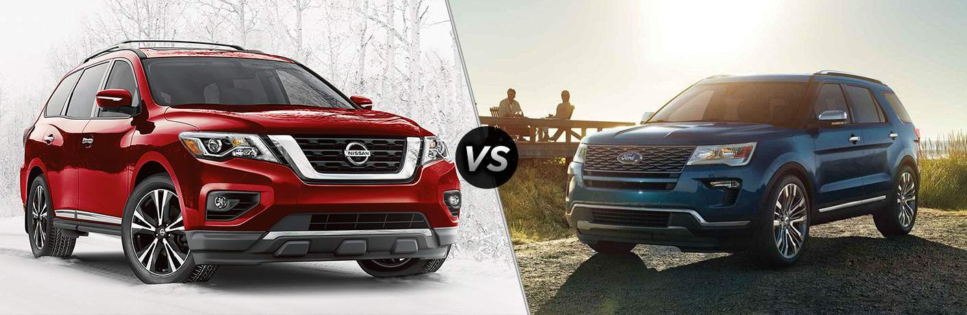 2018 Nissan Pathfinder and 2018 Ford Explorer side by side