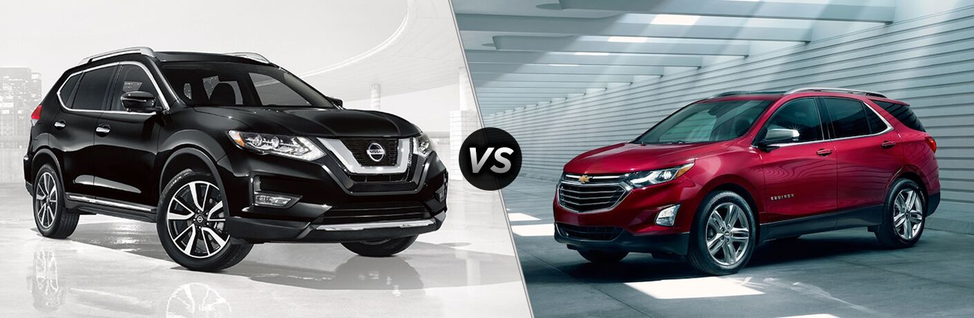 2018 Nissan Rogue and 2018 Chevy Equinox side by side