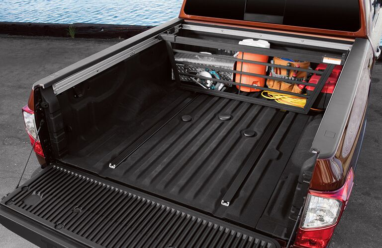 cargo stowing area in the bed of a NIssan Titan