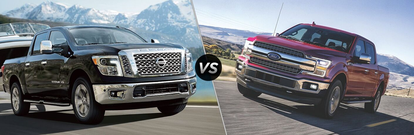 Comparison image of black 2018 Nissan TITAN and red 2018 Ford F-150