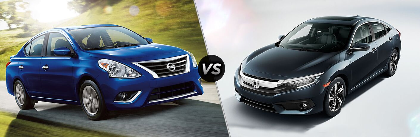 2018 Nissan Versa and 2018 Honda Civic side by side