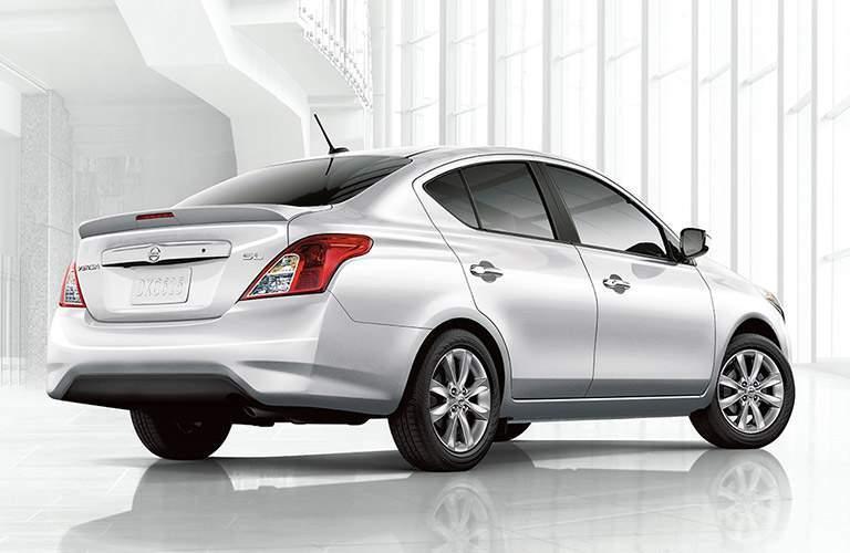 white 2018 Nissan Versa back side view