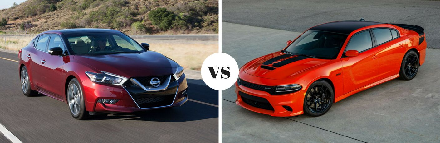 Comparison image of red 2018 Nissan Maxima and orange 2018 Dodge Charger