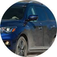 blue 2018 Nissan Pathfinder exterior driver side closeup