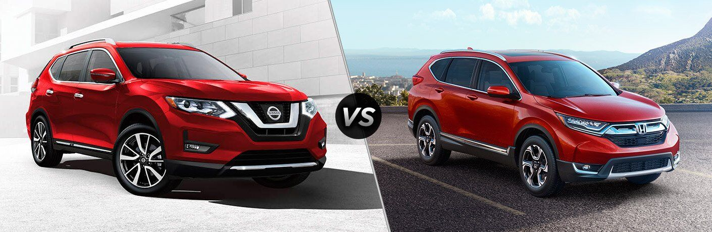 2017 Nissan Rogue and 2017 Honda CR-V exteriors