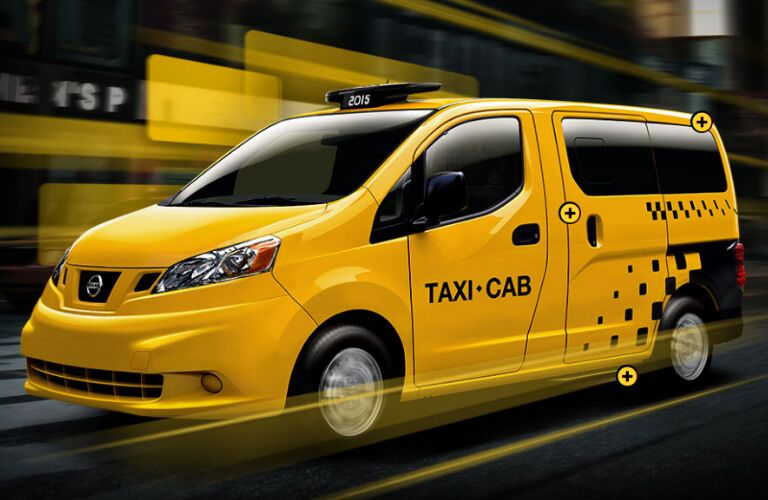 yellow 2017 Nissan NV Taxi exterior front side