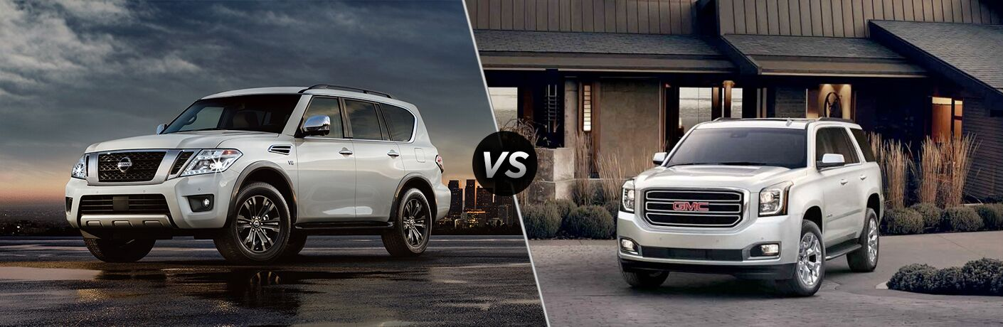 """Driver side exterior view of a white 2018 Nissan Armada on the left """"vs"""" front exterior view of a white 2018 GMC Yukon on the right"""
