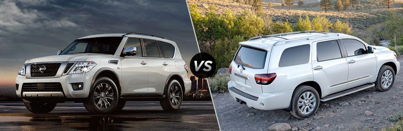 Comparison image of silver 2018 Nissan Armada and white 2018 Toyota Sequoia
