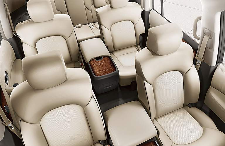 Front overhead view of the 2018 Nissan Armada's three rows of seats