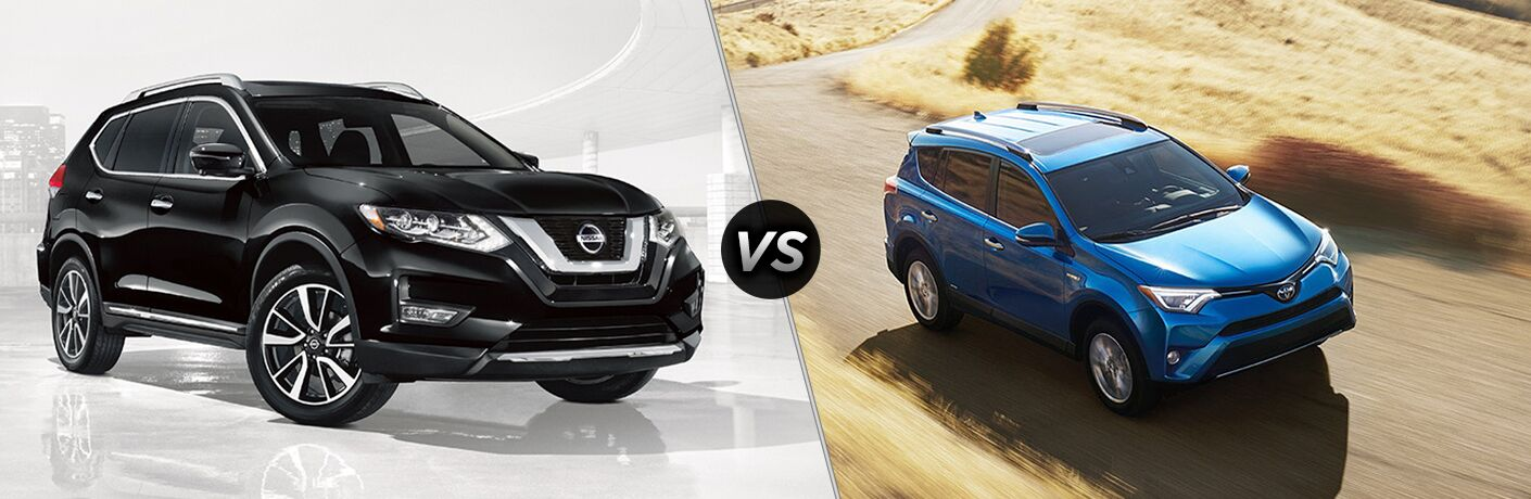 Side quarter profile of the 2018 Nissan Rogue in front of a white background vs the 2018 Toyota RAV4 driving on an open trail